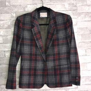 Pendleton Blazer 100% Wool Plaid Made in USA Sz 4
